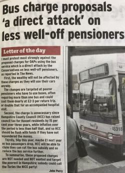 Hampshire Bus Charges Proposal for pensioners